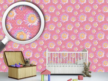 Design Wallpaper Sunflowers On Polka Dot