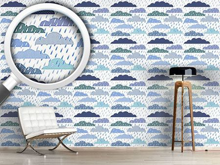 Design Wallpaper Rain Cloud Patchwork