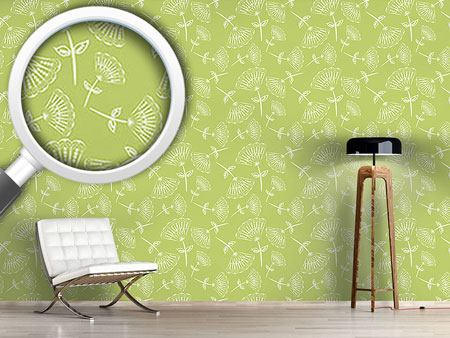 Design Wallpaper Fan Flowers On Grass