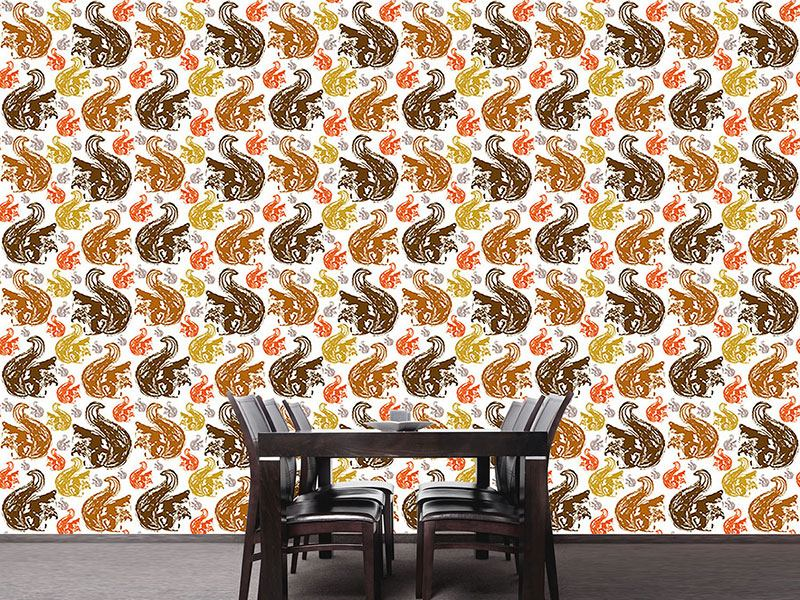 Papier peint design Squirrel Get Together