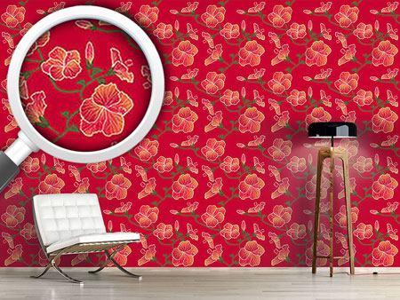 Design Wallpaper Red Hibiscus