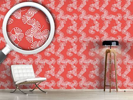 Design Wallpaper Ginkgo Red