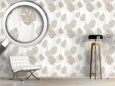 Design Wallpaper Beige Leaves
