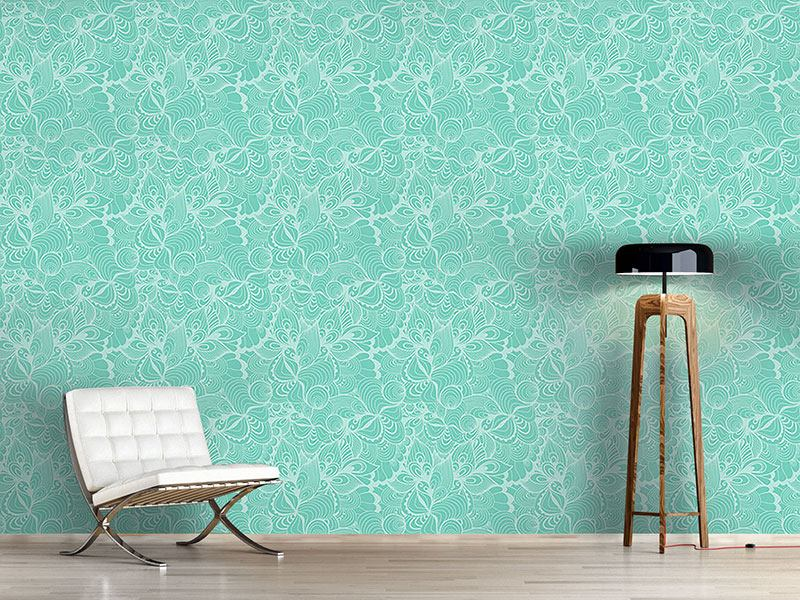 Design Wallpaper Aqua Floral
