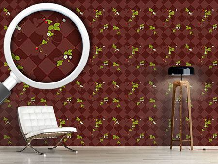 Design Wallpaper Wood Strawberries