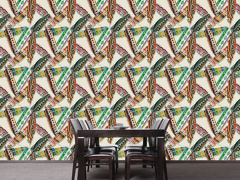 Design Wallpaper Ethno Feathers