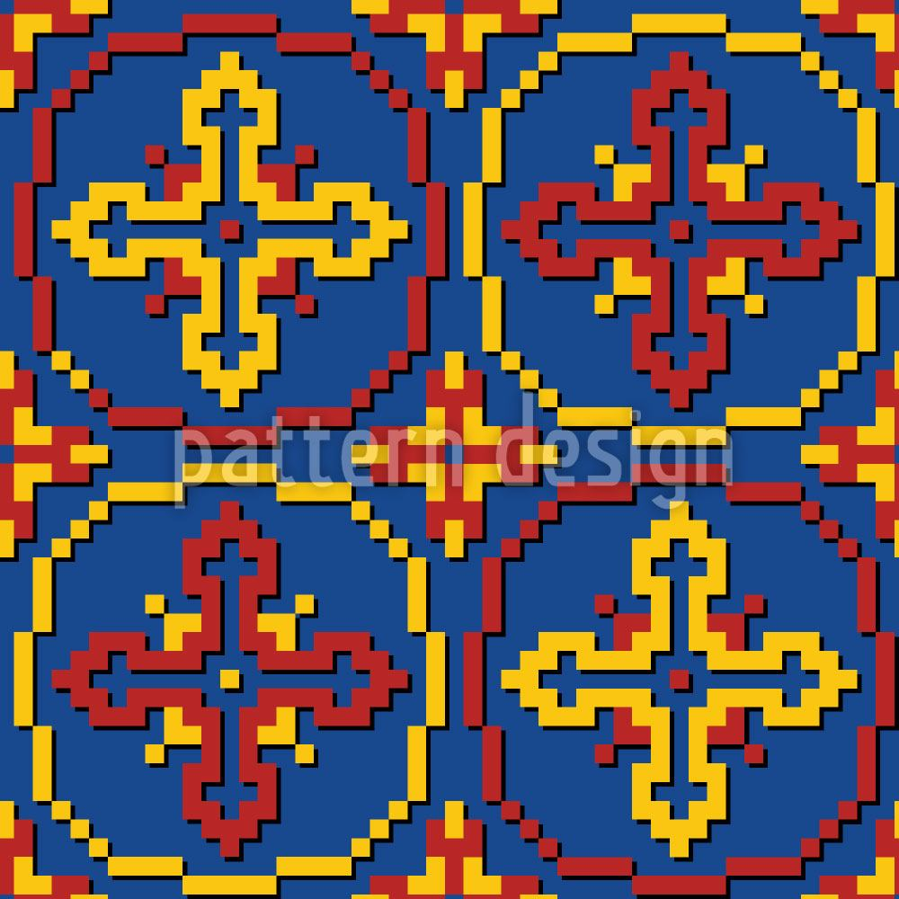 Papier peint design Pixel Crosses