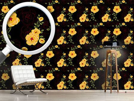 Design Wallpaper Yellow Rambler Roses