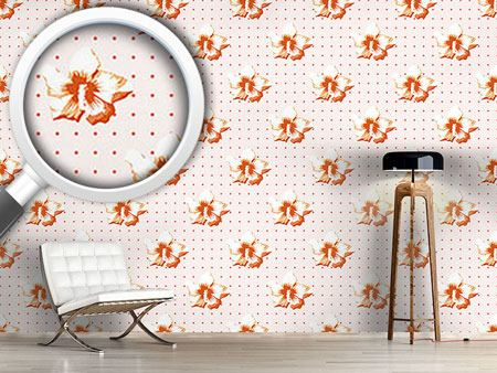 Design Wallpaper Polkadot Hibiscus