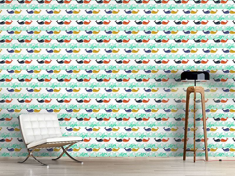 Papel tapiz de diseño Whales In Love