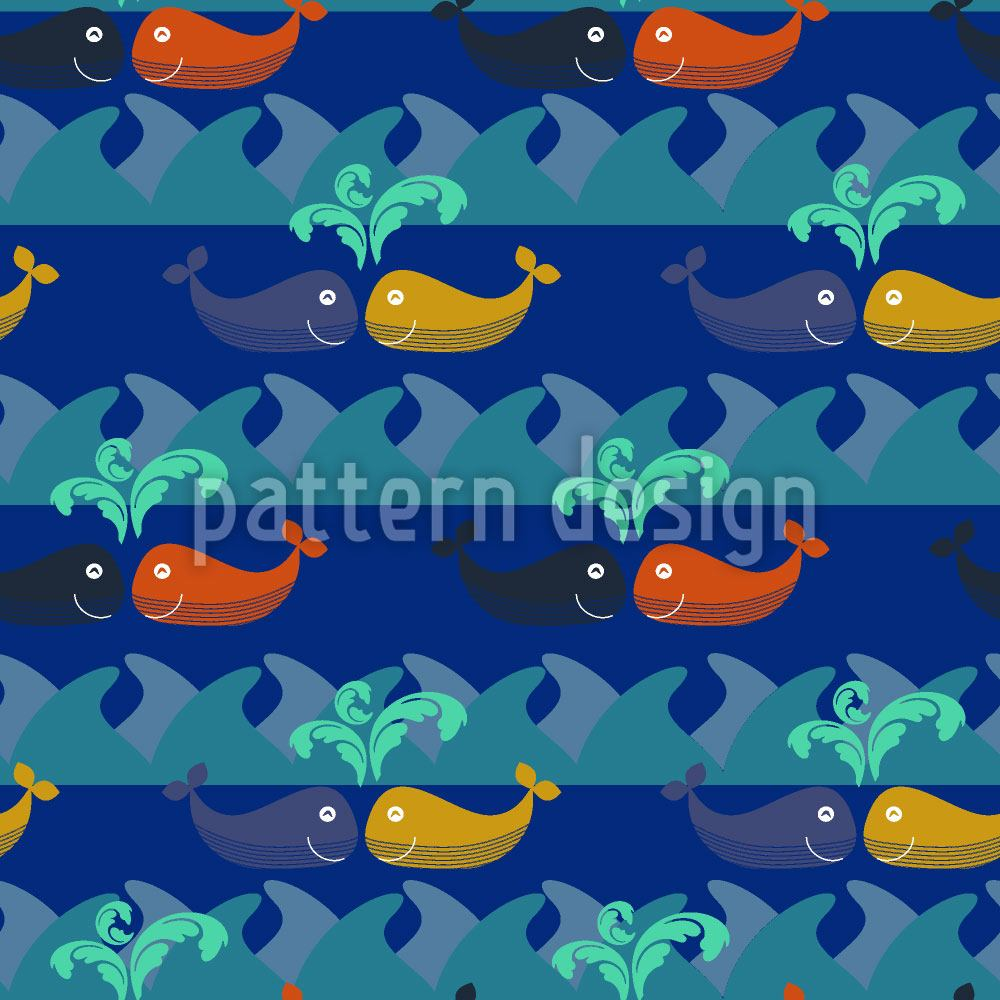 Papier peint design Happy Whales