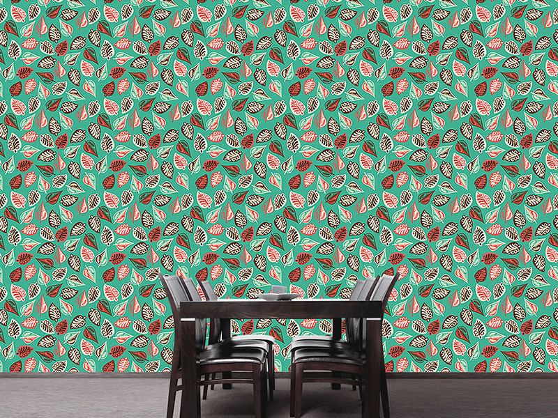 Design Wallpaper Winterly Leaves In Budapest