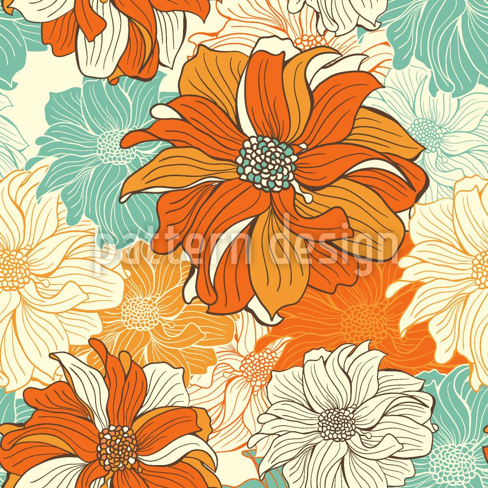 Papel tapiz de diseño Hand-drawn flowers of dahlia