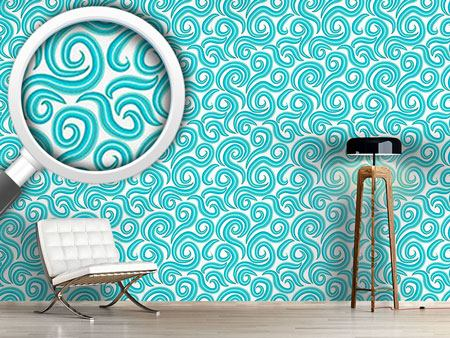 Design Wallpaper Aqua Curls