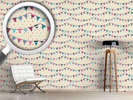 Design Wallpaper Sweet Festoons On Polkadots