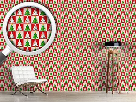 Design Wallpaper Chess With Christmas Trees
