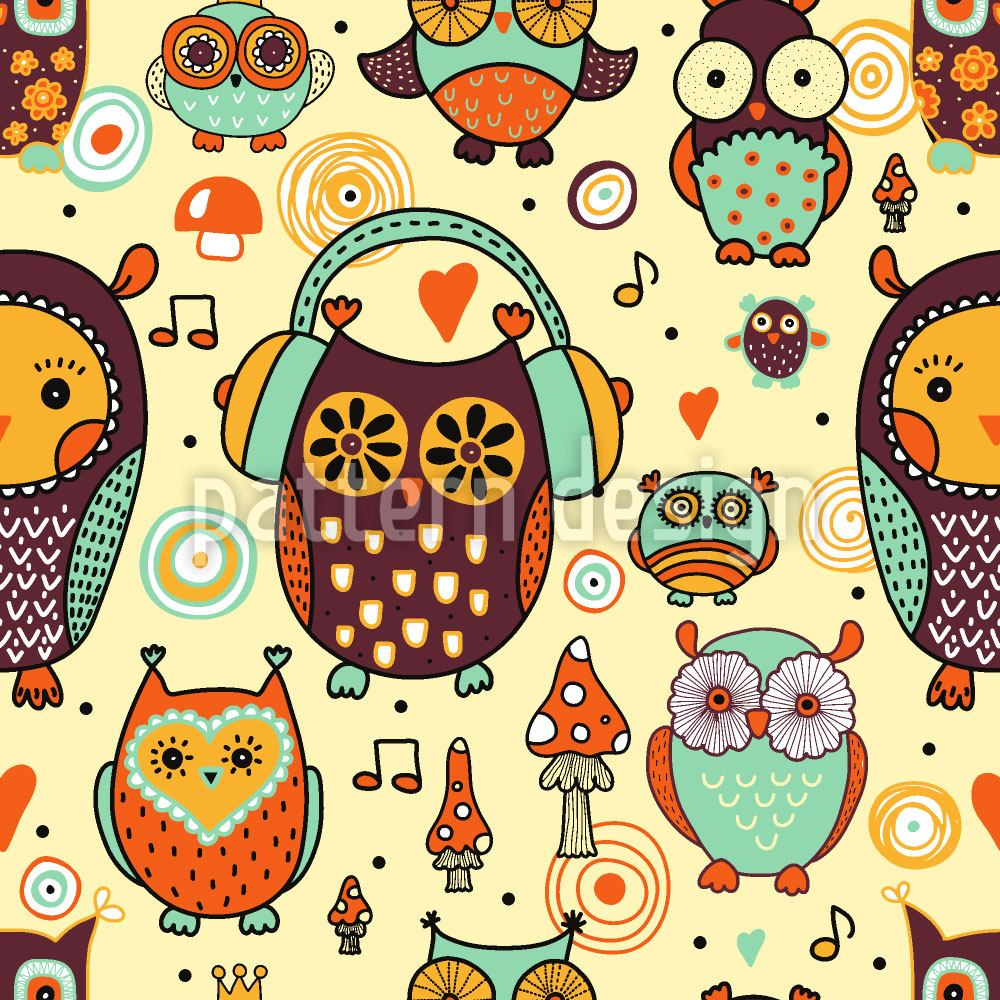 Carta da parati Owl Love Music Very Much