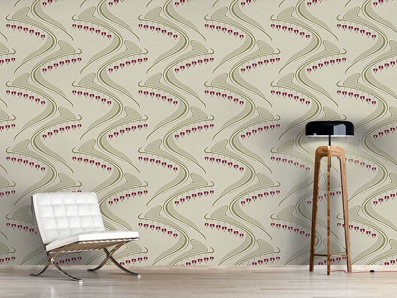 Design Wallpaper Heart Shaped Beige