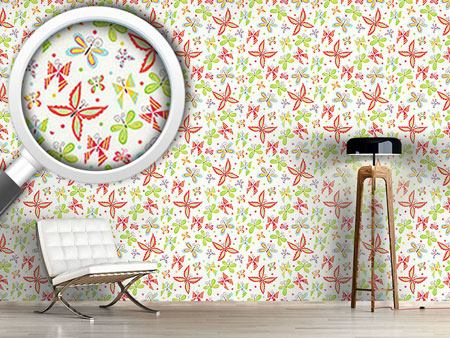 Design Wallpaper Patchwork Butterflies