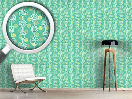 Design Wallpaper Flower Garlands On Dots