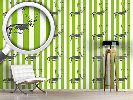 Design Wallpaper Deer In The Stripe Forest