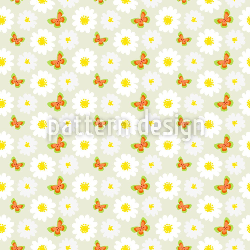 Papier peint design Butterflies Dance With Daisies