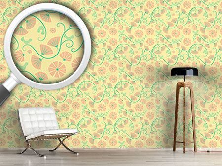 Design Wallpaper Birds And Fan Flowers