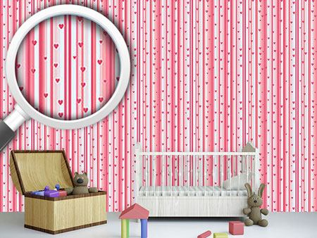 Design Wallpaper Romantic Hearts On Strips