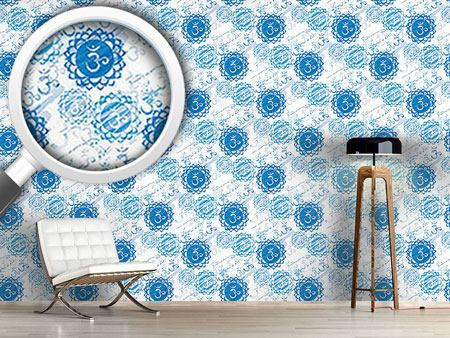 Design Wallpaper Om Blue and White