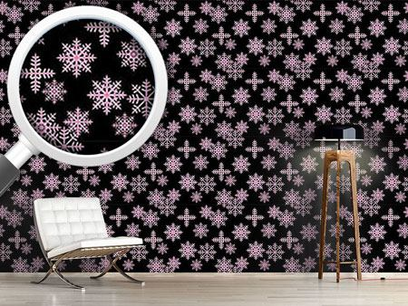 Design Wallpaper Ice Crystals Black