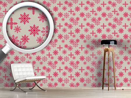 Design Wallpaper Ice Crystals Pink