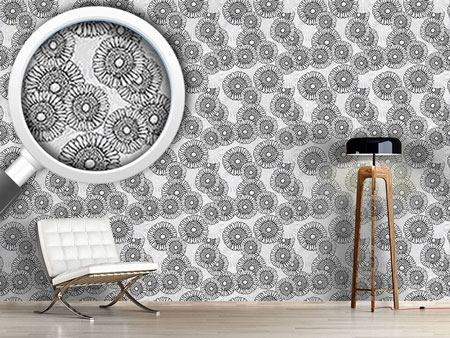 Design Wallpaper Sun Flowers Grey