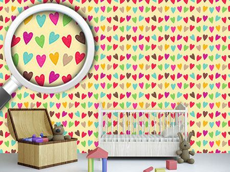Design Wallpaper Crocheted Hearts