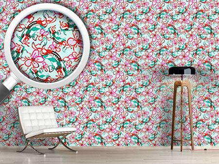 Design Wallpaper Koi In A Sea Of Flowers