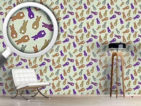 Design Wallpaper Bouncing Bunnies Purple