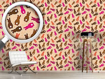Design Wallpaper Bouncing Bunnies Pink