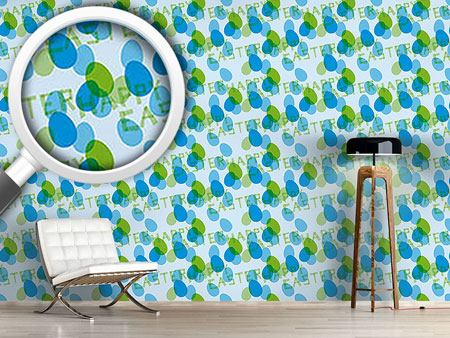 Papel tapiz de diseño Happy Easter Blue