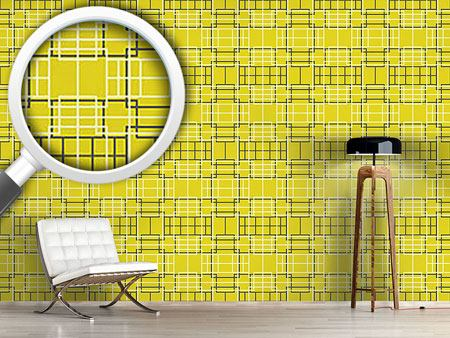 Papel tapiz de diseño Asian Lattice Yellow
