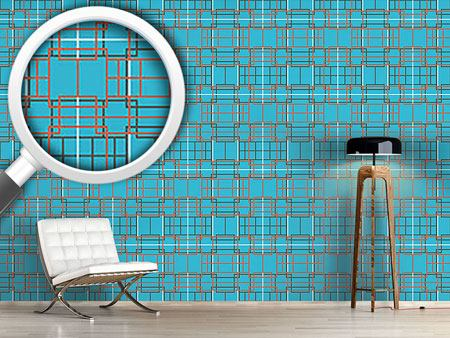 Design Wallpaper Asian Lattice Turquoise
