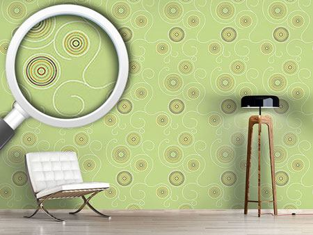 Papel tapiz de diseño Aboriginal Twirls Green