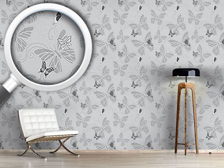 Design Wallpaper Monochrome Butterflies