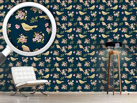 Design Wallpaper Birds With Blossoms