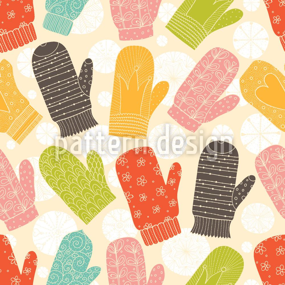 Design Wallpaper Mittens and Snowflakes