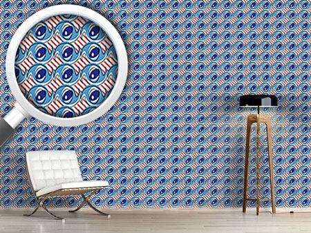 Design Wallpaper Crazy Eyes on Stripes