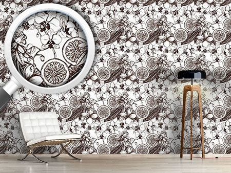 Design Wallpaper Vintage Exotic Flowers