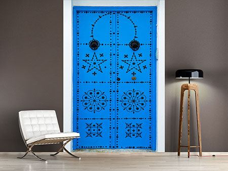 Photo Wallpaper Blue Wooden Door