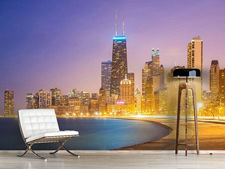 Photo Wallpaper Skyline Chicago At Night