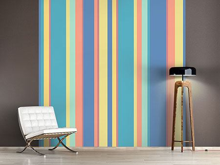 Photo Wallpaper Vertical Stripes In Pastel