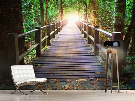 Photo Wallpaper The Bridge In The Forest