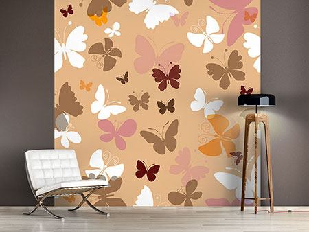 Photo Wallpaper Retro Design Butterflies